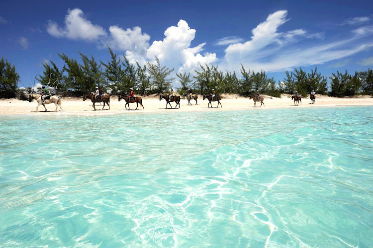 Horseback riding, hiking and nature walks are as popular as the beaches and snorkeling at Half Moon Cay, one  of about 700 islands that make up the Bahamas.