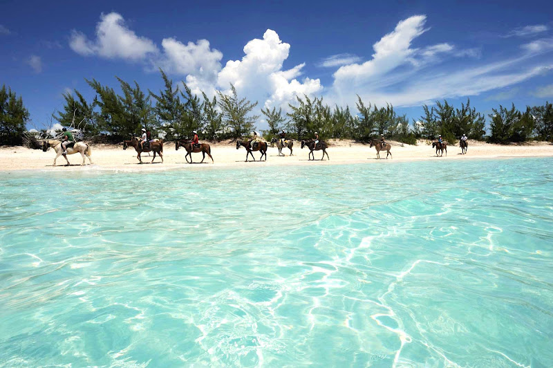 Horseback riding, hiking and nature walks are as popular as the beaches and snorkeling at Half Moon Cay in the Bahamas.