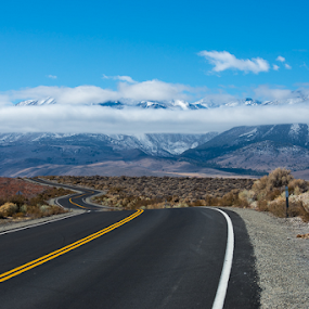 On the road in California by Photoxor AU - Landscapes Mountains & Hills ( clouds, tranquil, mountains, nature, relax, california, snow, path, tranquility, road, relaxing, landscape,  )