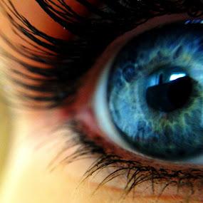Eye of the beholder by Gabi Dearing - People Body Parts ( macro, blue, green, lashes, eye,  )