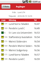 Screenshot of Lokaltrafik Skåne