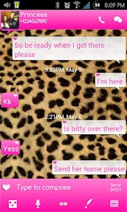 Go SMS Themes: Pink Cheetah- screenshot thumbnail