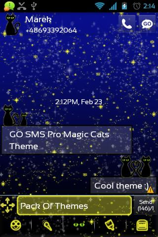 GO SMS Pro Magic Cats Theme - screenshot