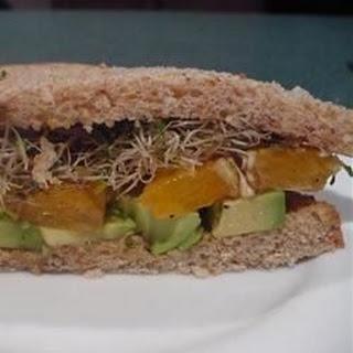 Avocado and Orange Sandwich.