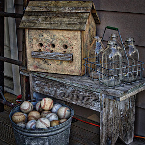 Back Porch by Jim Antonicello - Artistic Objects Antiques ( baseballs, bench, bird house, milk bottles, pail,  )