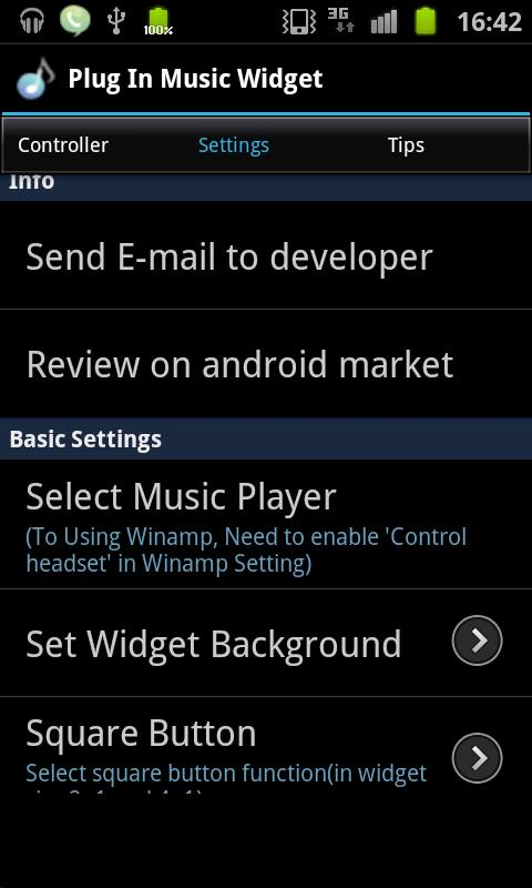 Plug In Music Widget - screenshot