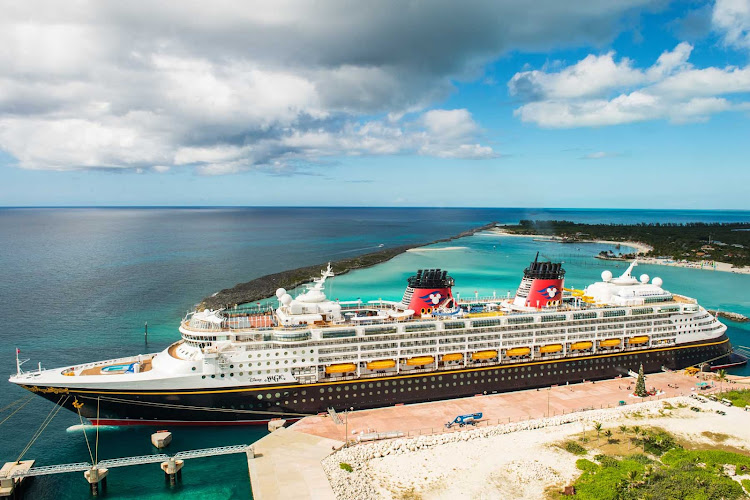 Disney Magic in port in the Caribbean.