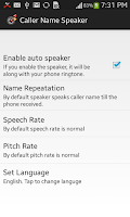 Screenshot of Caller Name Speaker