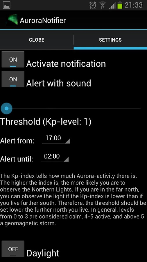 Aurora Notifier - screenshot