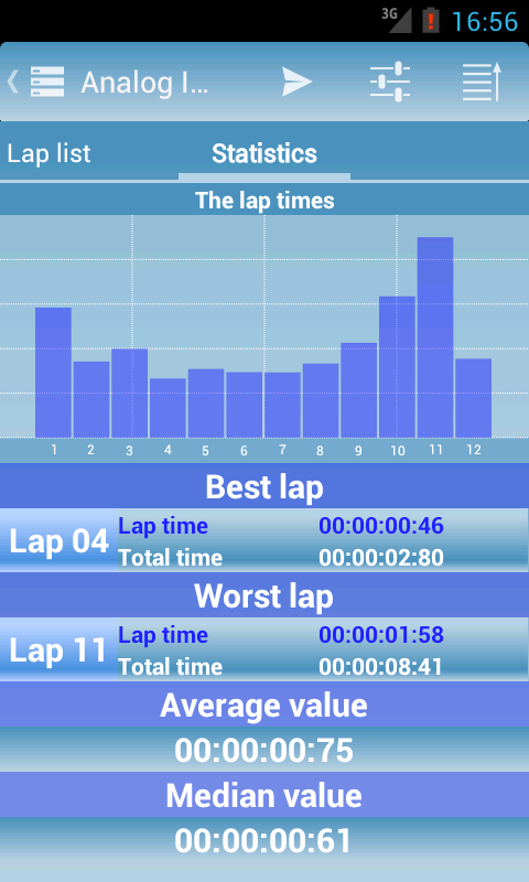 Analog Interval Stopwatch - screenshot