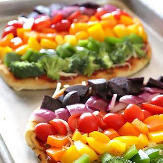 Rainbow Veggie Flatbread Pizza.