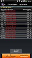 Screenshot of NJ Train Schedule