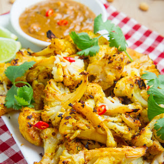 Roasted Cauliflower Satay with Spicy Peanut Dipping Sauce.