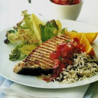 Griddled Halibut Steaks With Tomato And Red Pepper Salsa.