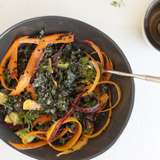 Raw Kale Salad with Creamy Tahini Dressing.
