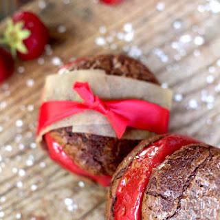 Strawberry Sorbet Brownie Sandwiches