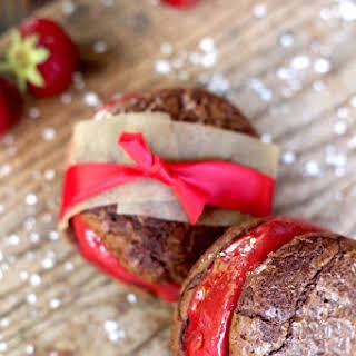 Strawberry Sorbet Brownie Sandwiches.