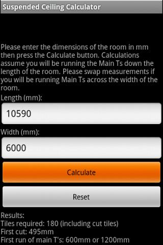Suspended Ceiling Calc Lite - screenshot
