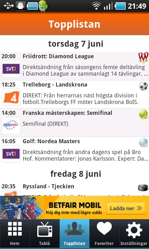 Sport på TV - screenshot
