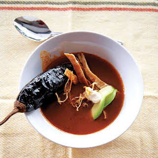Sopa de Chile Ancho (Ancho Chile Soup with Avocado, Crema, and Chile Pasilla).
