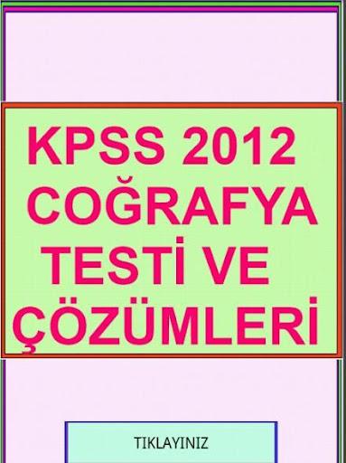 KPSS COĞRAFYA TESTİ ÇÖZÜMLERİ