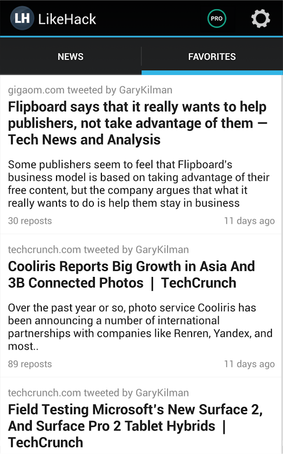 LikeHack: personalized news - screenshot