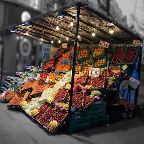 Fruit stall by Shona McQuilken - City,  Street & Park  Markets & Shops ( fruit, market, london, stall, street, , Urban, City, Lifestyle, selective color, pwc )