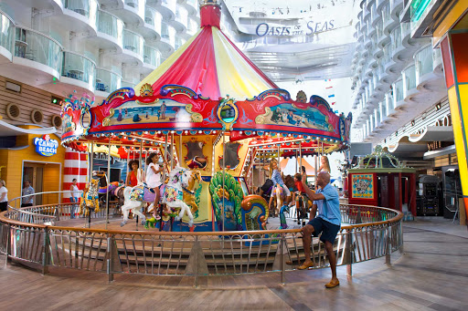 Children will love to take a ride on the carousel on the Boardwalk of Oasis of the Seas.