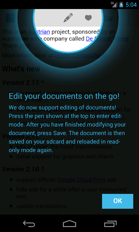 OpenDocument Reader – Capture d'écran
