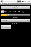 Screenshot of Shake to Shuffle