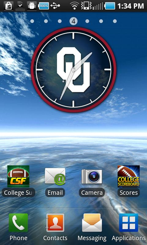 Oklahoma Sooners Clock Widget - screenshot