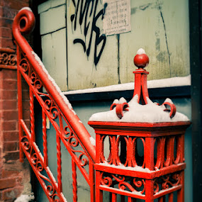 stairwell, NYC winter by Shirley Cohen - Artistic Objects Still Life ( winter, red, stairway, graffiti, new york, nyc )