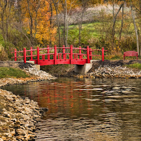 by Becky Kempf - Landscapes Waterscapes ( water, red, autumn, creek, trees, bridge, banks, , green, fall, color, colorful, nature )