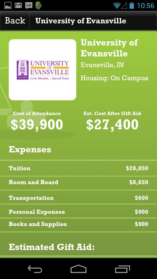 Indiana College Cost Estimator- screenshot