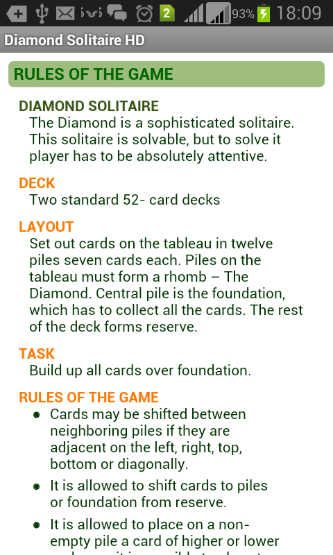 Diamond Solitaire HD Free - screenshot