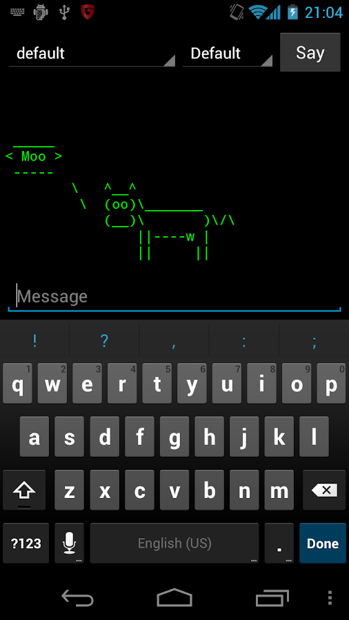 Cowsay for Android- screenshot