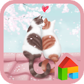 lovely girl cat couple dodol