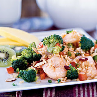 Shrimp and Broccoli Fried Rice with Toasted Almonds.