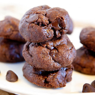 Thick and Soft Chocolate Peanut Butter Cookies (gluten-free).