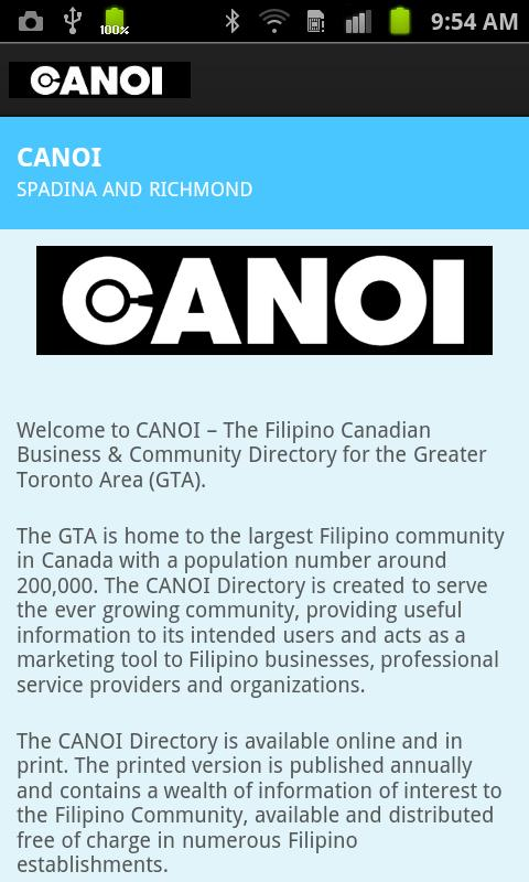 CANOI Filipino Directory - screenshot