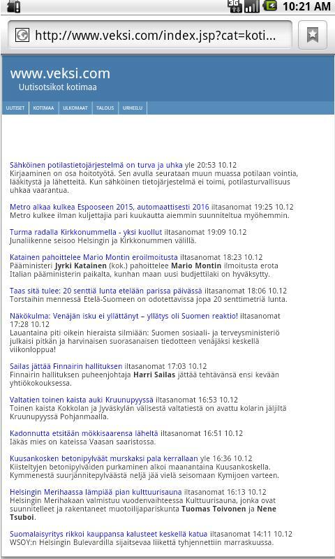Urheilu-uutiset - screenshot