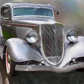 Restored Beauty by Tom Reiman - Transportation Automobiles ( car, automobile, silver, ford, restored,  )