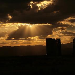 Untitled by Yana Villion - Buildings & Architecture Other Exteriors ( las vegas, building, desert, silhouette, sunset,  )