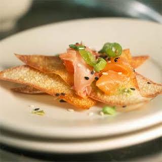 Salmon Carpaccio with Wasabi.
