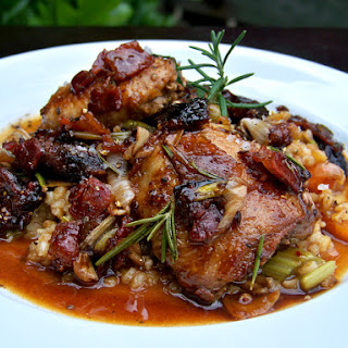 Pan-roasted Quail with Black Fig/Bacon Demi-glace over Piccolo Farrotto