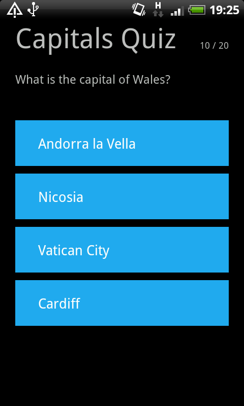Capital Cities Quiz - screenshot