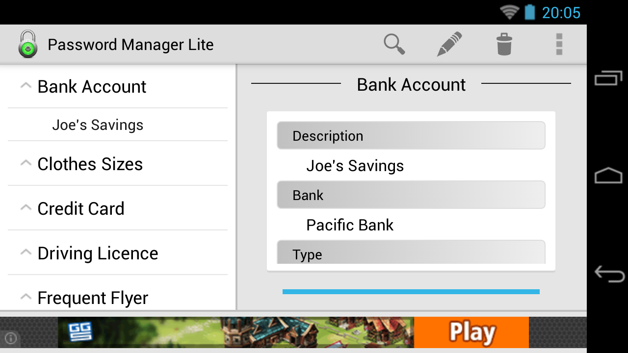 Password Manager Lite - screenshot