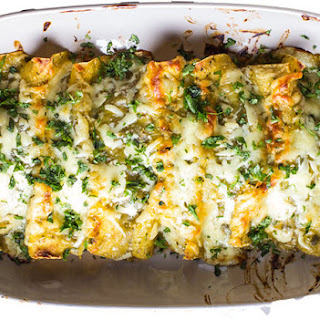 Easy Chicken, Kale & Goat Cheese Enchiladas.