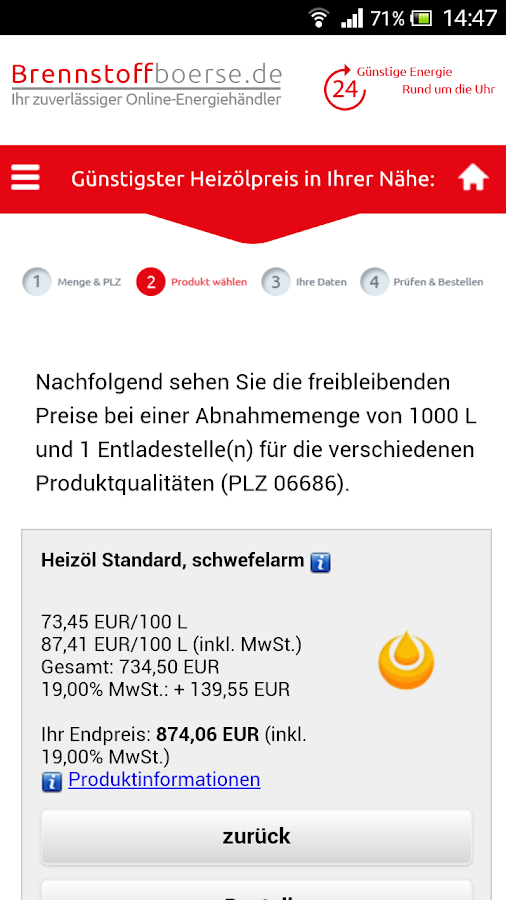 Brennstoffbörse – Screenshot