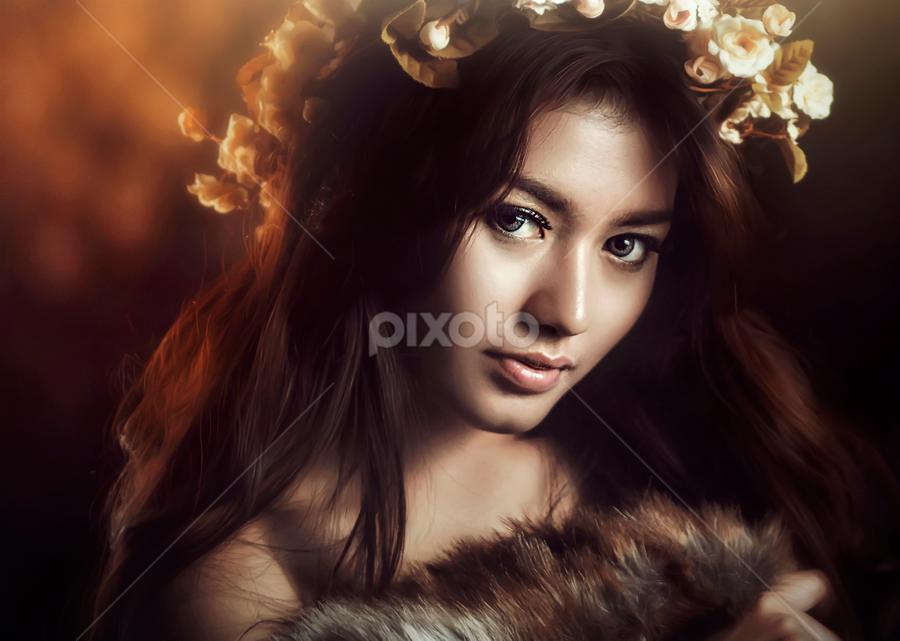 girl with flower by Ivan Lee - People Portraits of Women ( canon, model, girl, beauty, flower,  )